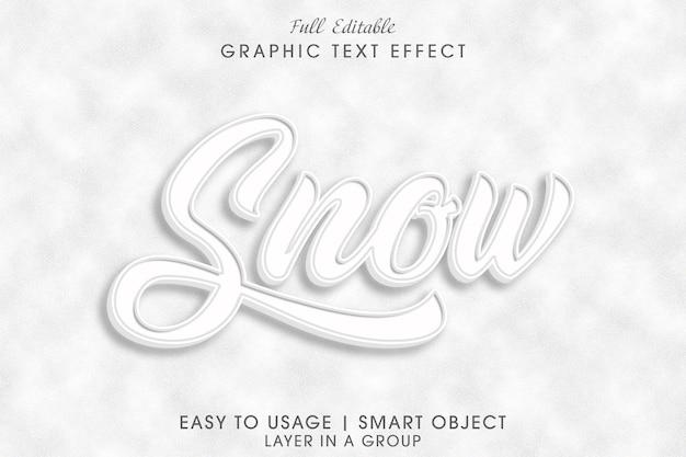 Efeito de texto de neve psd editável