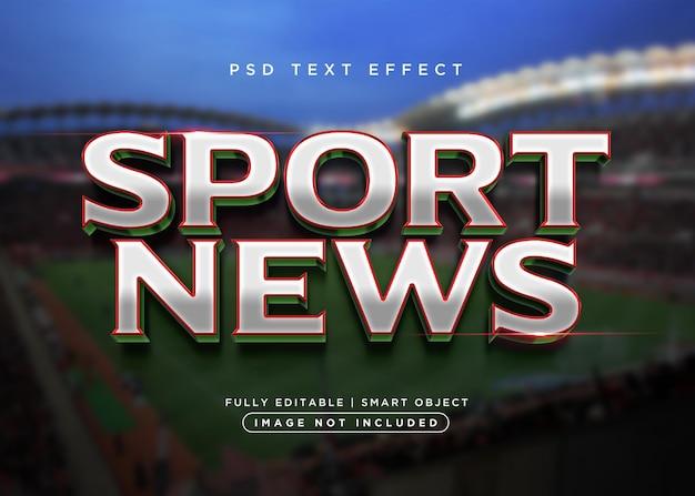 Efeito de texto de notícias de esporte estilo 3d