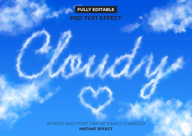 Efeito de texto de nuvens