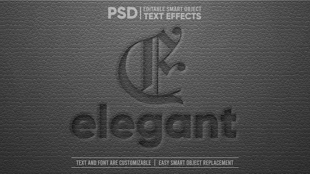 Efeito de texto de objeto inteligente editável em 3d de couro preto elegante