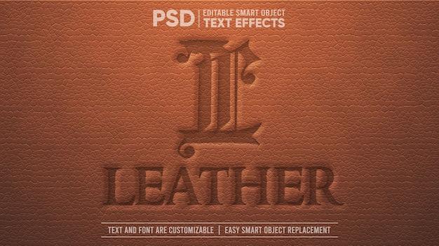 Efeito de texto de objeto inteligente editável em 3d de couro vintage marrom