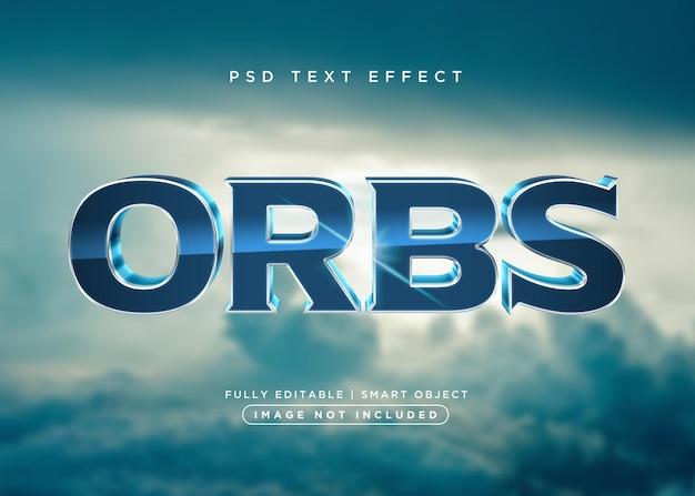 Efeito de texto de orbes estilo 3d