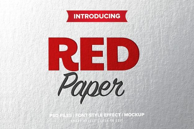 Efeito de texto de papel imprensa vermelho