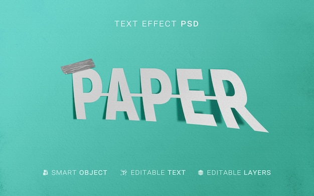 Efeito de texto de papel