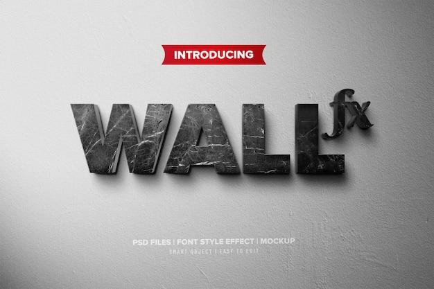 Efeito de texto de parede 3d