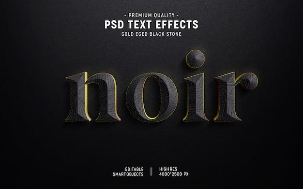 Efeito de texto de pedra em 3d gold edge estilo