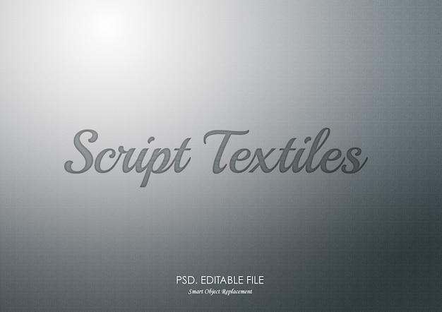 Efeito de texto de prata script têxteis