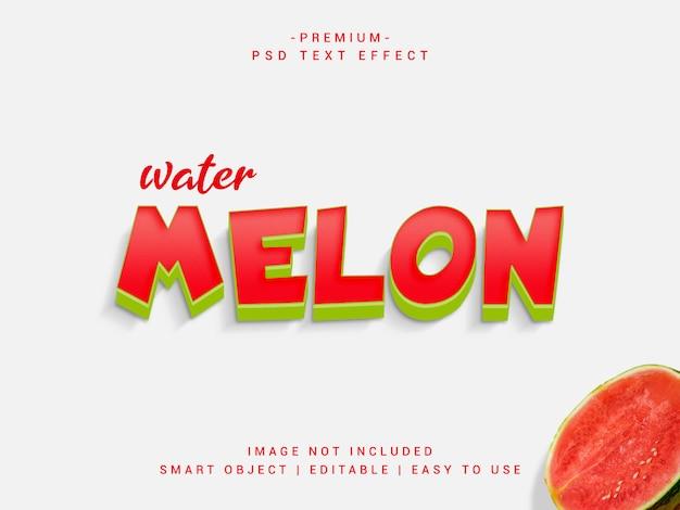 Efeito de texto de psd de melancia premium