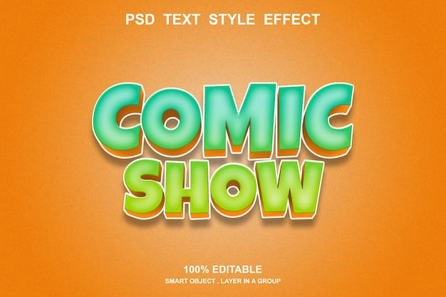 Efeito de texto de quadrinhos mostrar editável