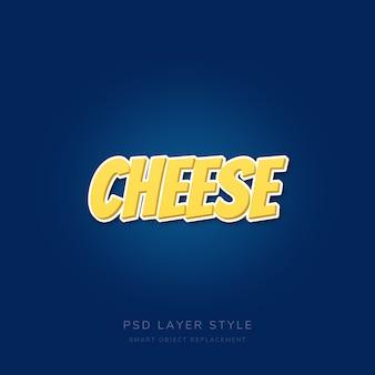 Efeito de texto de queijo com textura