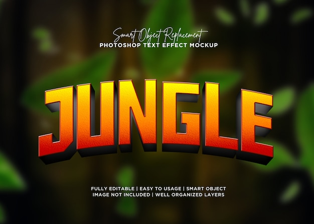 Efeito de texto de selva de estilo 3d