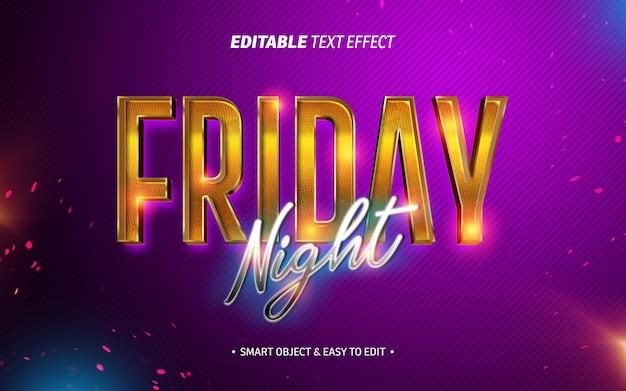 Efeito de texto de sexta à noite