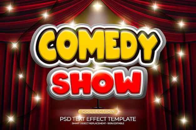 Efeito de texto de show de comédia personalizado com cor vermelha pódio e brilhante