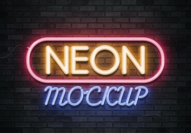 Efeito de texto de sinal de néon na parede de tijolos