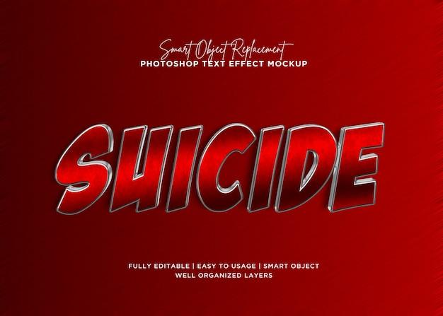 Efeito de texto de suicídio de estilo 3d