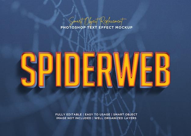 Efeito de texto de teia de aranha de estilo 3d