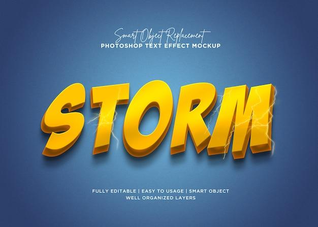Efeito de texto de tempestade de estilo 3d
