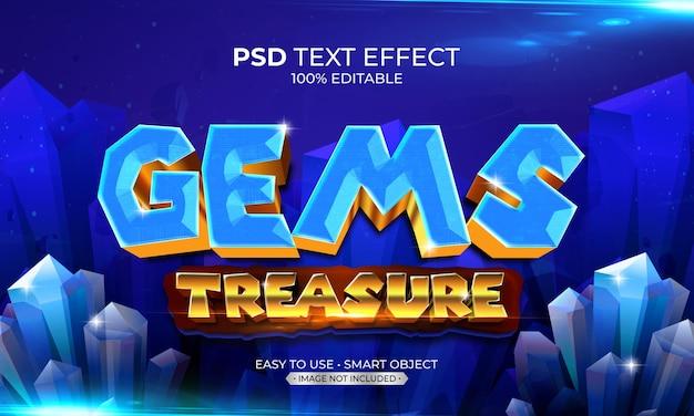 Efeito de texto de tesouro de gemas