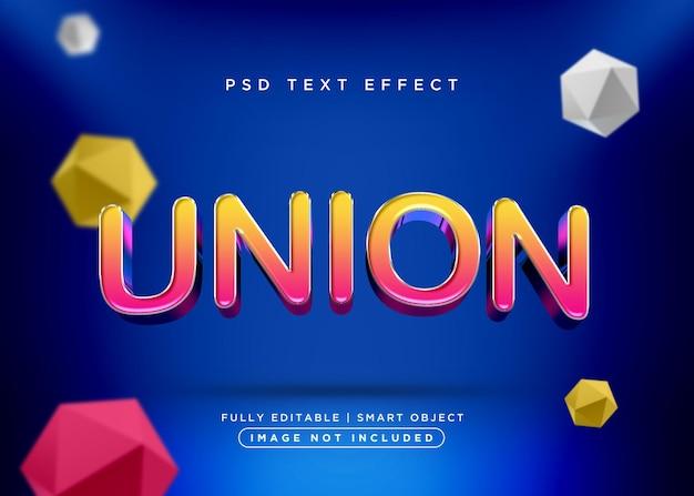 Efeito de texto de união de estilo 3d