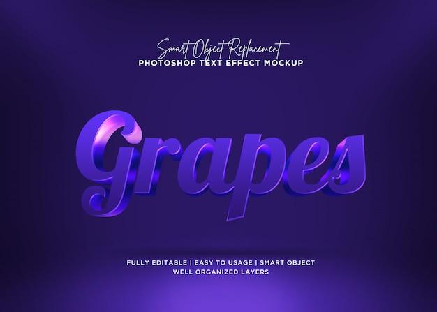 Efeito de texto de uvas de estilo 3d