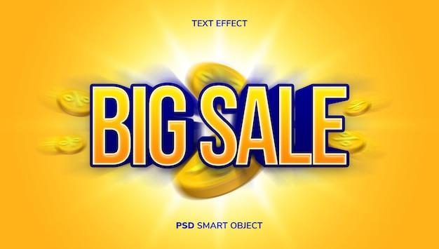 Efeito de texto de venda 3d com tema de cor amarela e azul.