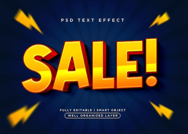 Efeito de texto de venda estilo 3d
