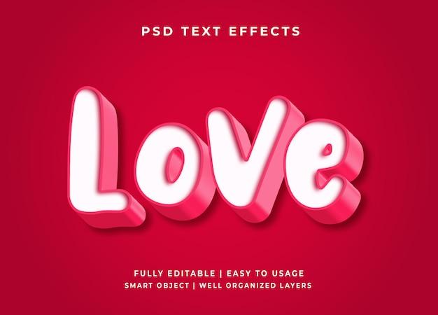 Efeito de texto de vetor de amor