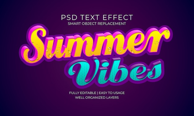 Efeito de texto de vibes de verão