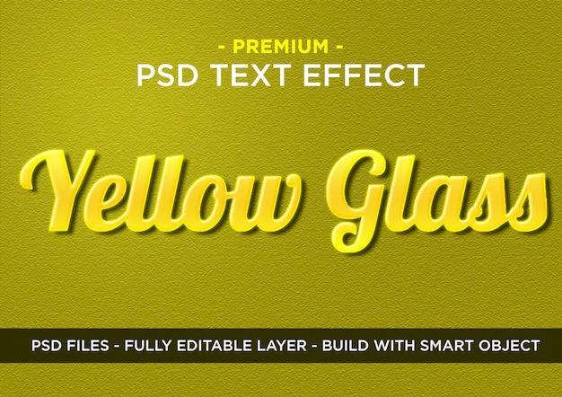 Efeito de texto de vidro amarelo premium photoshop psd styles
