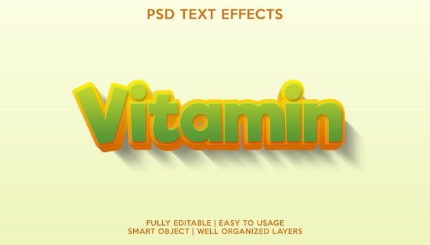 Efeito de texto de vitamina