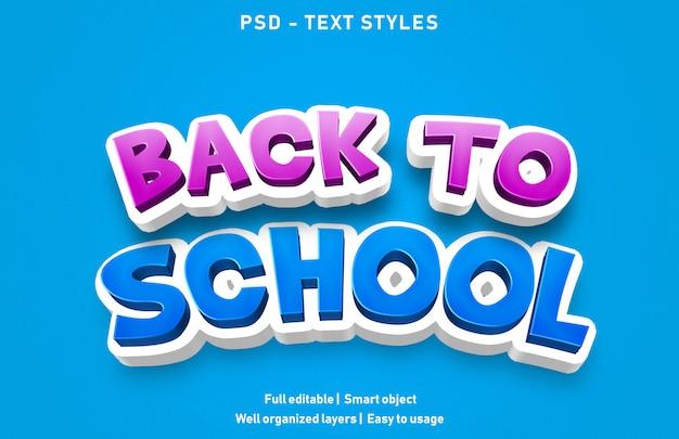 Efeito de texto de volta à escola