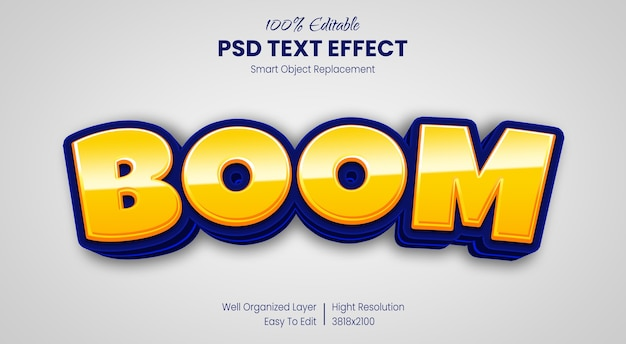 Efeito de texto desenho animado estilo de texto boom