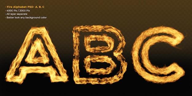 Efeito de texto do alfabeto de fogo