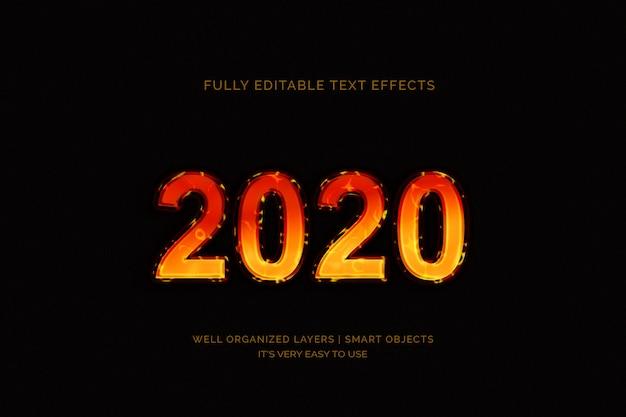 Efeito de texto do ano novo 2020