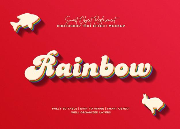 Efeito de texto do arco-íris estilo 3d