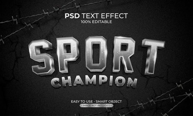 Efeito de texto do campeão esportivo prata