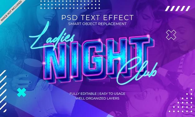 Efeito de texto do clube da noite das senhoras