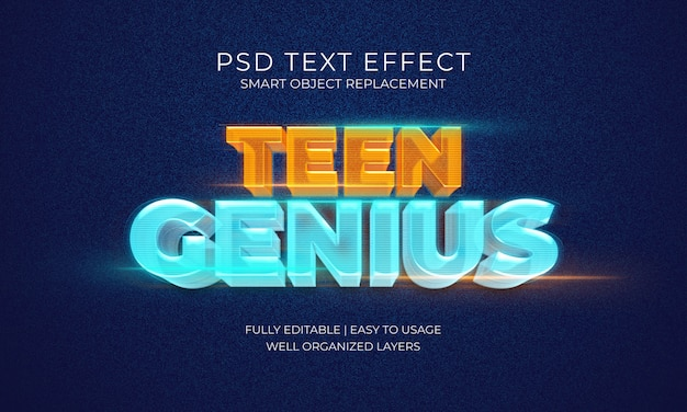 Efeito de texto do hologram teen genius