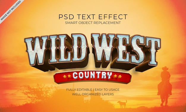 Efeito de texto do país wild west
