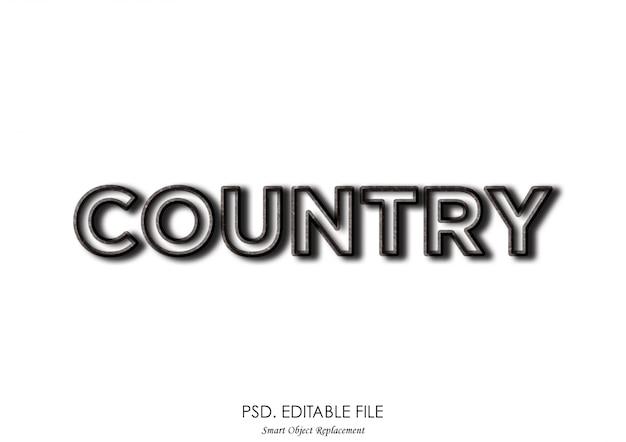 Efeito de texto do país