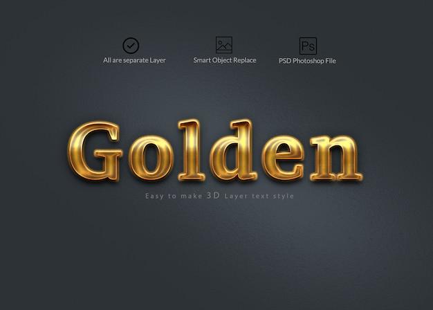 Efeito de texto dourado 3d em camadas do photoshop