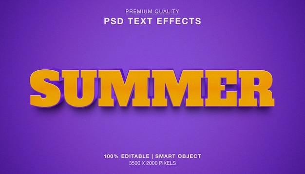 Efeito de texto editável 3d de verão