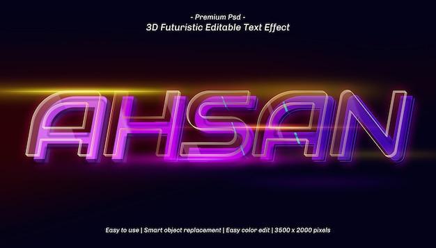 Efeito de texto editável ahsan 3d