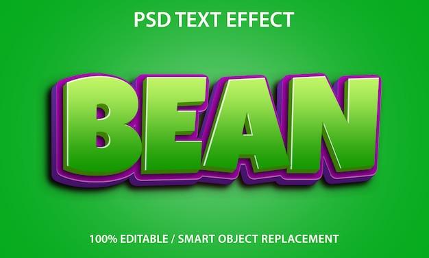 Efeito de texto editável bean premium