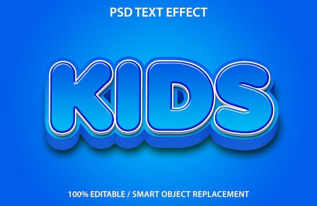 Efeito de texto editável blue kids