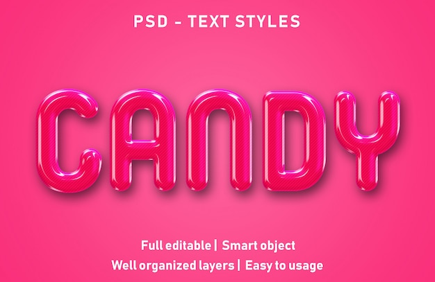 Efeito de texto editável candy