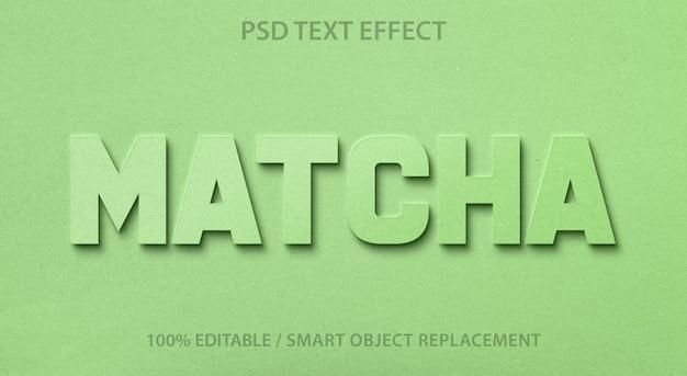Efeito de texto editável chá verde
