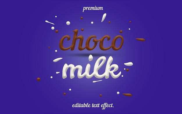 Efeito de texto editável choco milk