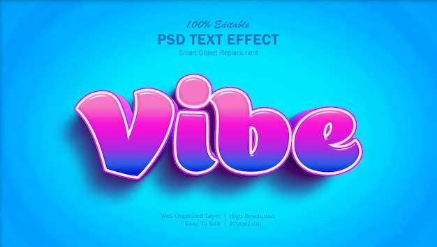 Efeito de texto editável colorido do 3d vibe
