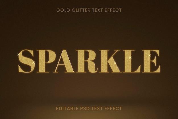 Efeito de texto editável com glitter dourado psd